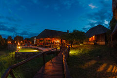 Коттеджи живой природы Phinda захода солнца Стоковое фото RF