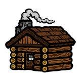 Коттедж бревенчатой хижины деревянный Стоковые Изображения RF