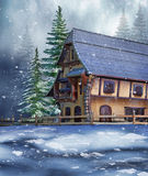 Коттедж в лесе зимы иллюстрация вектора