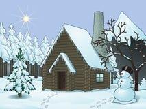 Коттедж в зиме бесплатная иллюстрация