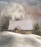Коттедж зимы Стоковое Фото