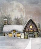 Коттедж зимы бесплатная иллюстрация