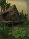 Коттедж на болоте иллюстрация штока