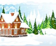 коттедж покрыл снежок иллюстрация вектора