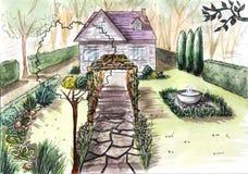 Коттедж сада дома чертежа Стоковое Изображение RF