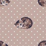 Коты акварели, безшовная картина 2 бесплатная иллюстрация