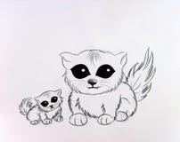 коты белые Иллюстрация вектора
