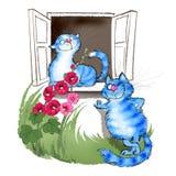 Коты в влюбленности под окном иллюстрация штока