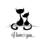 Коты в влюбленностях Стоковое Изображение