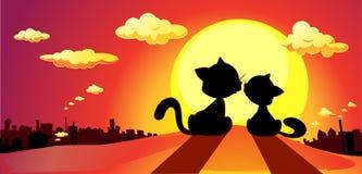 коты в силуэте влюбленности в заходе солнца - векторе Стоковые Изображения