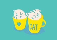 Коты в чашке иллюстрация штока
