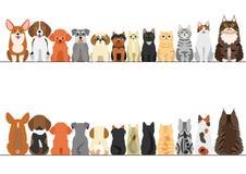Коты и малый комплект границы собак иллюстрация вектора