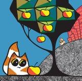 Коты и яблоня бесплатная иллюстрация