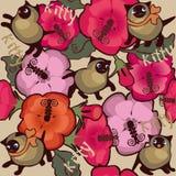 Коты киска, предпосылка цветков безшовная Стоковые Фотографии RF