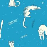 коты малые картина безшовная Стоковое Изображение