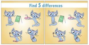 коты милые 4 Разницы в находки 5 игры детей бесплатная иллюстрация