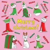 Коты Нового Года рождества иллюстрация вектора