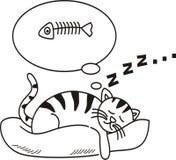 Коты падают уснувший и мечт о рыбах Стоковое Фото