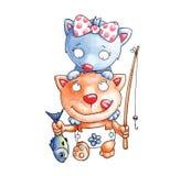 Коты рыболовства Стоковое Изображение