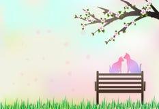 Коты сидя на стенде под деревом вишневого цвета бесплатная иллюстрация