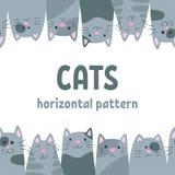 коты счастливые серо Горизонтальная безшовная картина в стиле doodle и шаржа вектор иллюстрация вектора