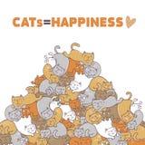 Коты счастье иллюстрация вектора