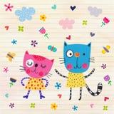 коты счастливые Стоковые Фотографии RF