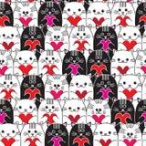 Коты с сердцами в картине вектора рук безшовной Стоковые Фото
