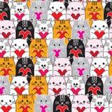 Коты с сердцами в картине вектора рук безшовной Стоковые Изображения