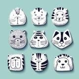 Коты установленные милого doodle Ягнит животные характеров иллюстрация штока