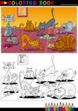 Коты шаржа для книги или страницы расцветки Стоковое Изображение RF