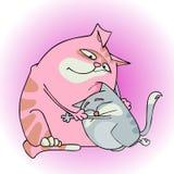 Коты шаржа обнимая и утешая один другого иллюстрация штока