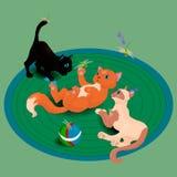 Котята и dragonflies иллюстрация штока
