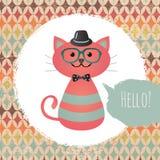 Кот битника в текстурированной иллюстрации дизайна рамки Стоковое Изображение