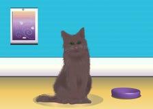 Кот вектора в комнате Стоковая Фотография
