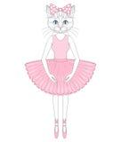 Кот вектора милый в платье как балерина Anthropomorp нарисованное рукой бесплатная иллюстрация