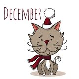 Кот вектора шаржа на календарный месяц декабрь иллюстрация вектора