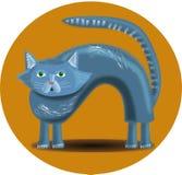 Кот в желтом круге Стоковые Изображения RF