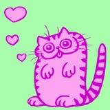 Кот в иллюстрации вектора влюбленности Стоковое Изображение RF