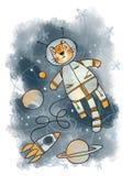 Кот в космосе Стоковое Изображение