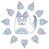 Кот в круге с картинами и орнаментами Стоковые Изображения