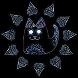 Кот в круге с картинами и орнаментами Стоковое Изображение RF