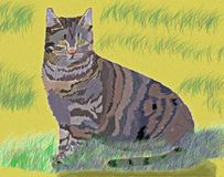 Кот в песчанных дюнах - искусство цифров иллюстрация вектора