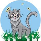 Кот в покрашенном шарже и оригинале иллюстрация штока