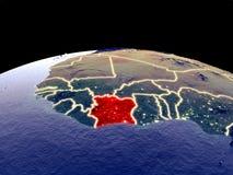 Кот-д'Ивуар на земле от космоса иллюстрация штока