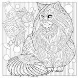Кот енота Zentangle стилизованный Мейна Стоковое Изображение