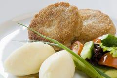 Котлета и картошки с овощами Стоковое фото RF