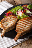 Котлета свинины BBQ пряная с смешанным салатом на конце-вверх плиты Vert Стоковое Фото
