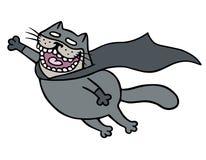 Кот летучей мыши супергероя шаржа в маске летает для того чтобы сохранить гуманность также вектор иллюстрации притяжки corel Стоковое Изображение