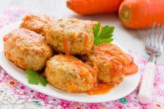 Котлеты мяса с морковью Стоковые Изображения